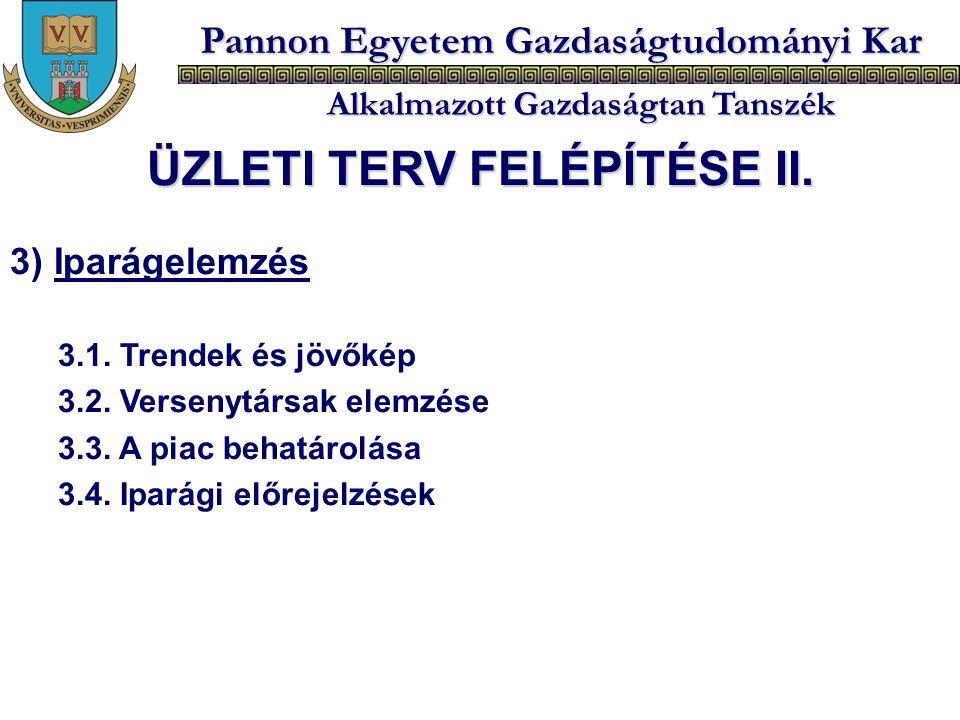 Pannon Egyetem Gazdaságtudományi Kar Alkalmazott Gazdaságtan Tanszék 3) Iparágelemzés 3.1. Trendek és jövőkép 3.2. Versenytársak elemzése 3.3. A piac