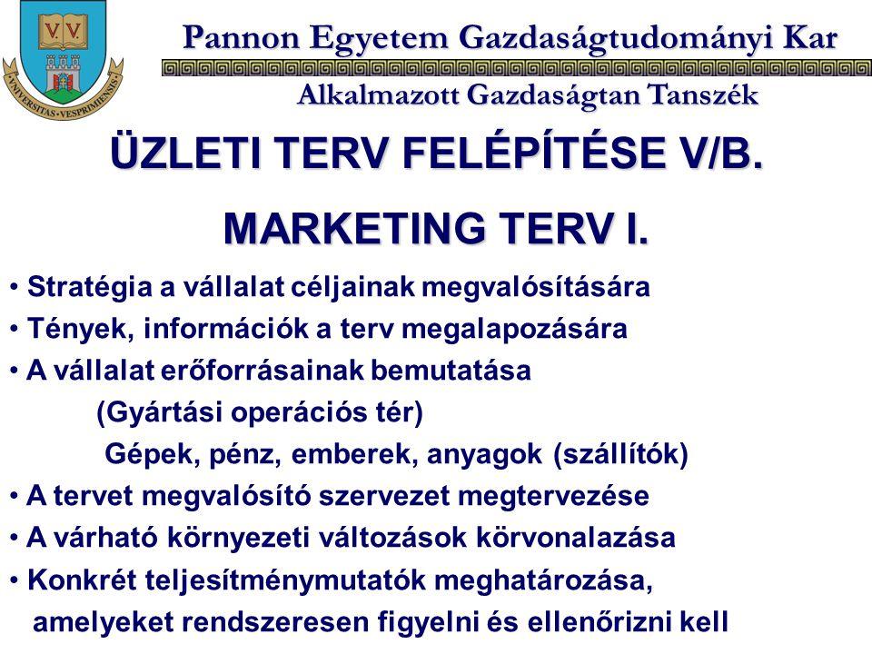 Pannon Egyetem Gazdaságtudományi Kar Alkalmazott Gazdaságtan Tanszék MARKETING TERV I. Stratégia a vállalat céljainak megvalósítására Tények, informác