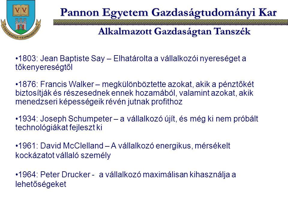 Pannon Egyetem Gazdaságtudományi Kar Alkalmazott Gazdaságtan Tanszék 1803: Jean Baptiste Say – Elhatárolta a vállalkozói nyereséget a tőkenyereségtől