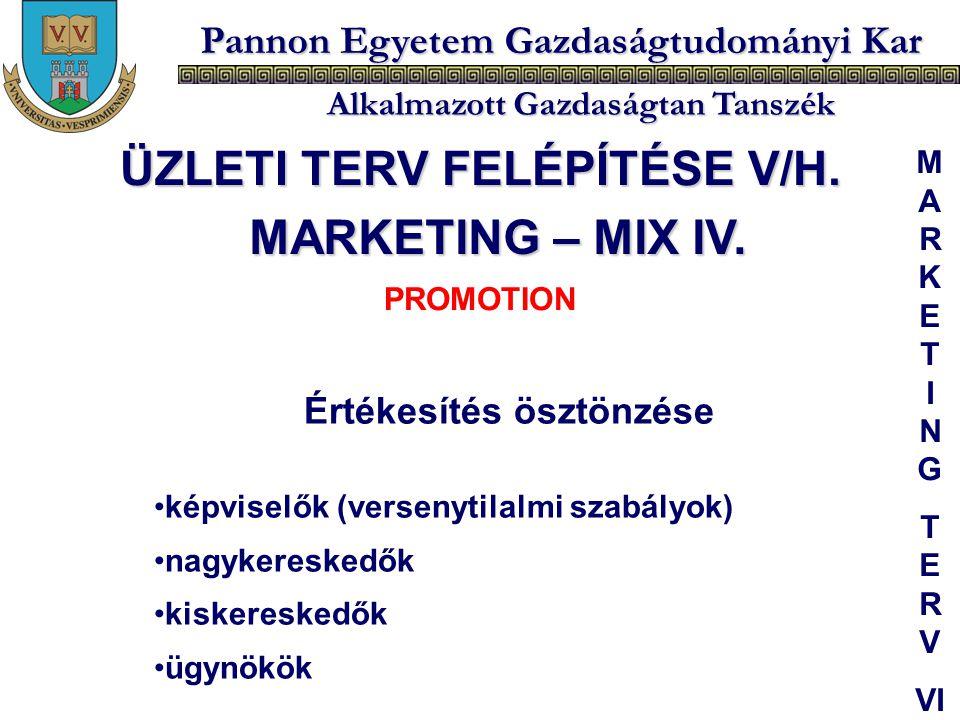 Pannon Egyetem Gazdaságtudományi Kar Alkalmazott Gazdaságtan Tanszék Értékesítés ösztönzése képviselők (versenytilalmi szabályok) nagykereskedők kiske