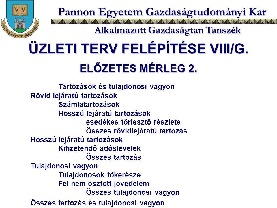 Pannon Egyetem Gazdaságtudományi Kar Alkalmazott Gazdaságtan Tanszék ELŐZETES MÉRLEG 2. Tartozások és tulajdonosi vagyon Rövid lejáratú tartozások Szá