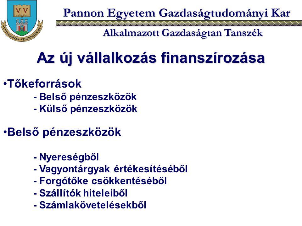 Pannon Egyetem Gazdaságtudományi Kar Alkalmazott Gazdaságtan Tanszék Az új vállalkozás finanszírozása Tőkeforrások - Belső pénzeszközök - Külső pénzes