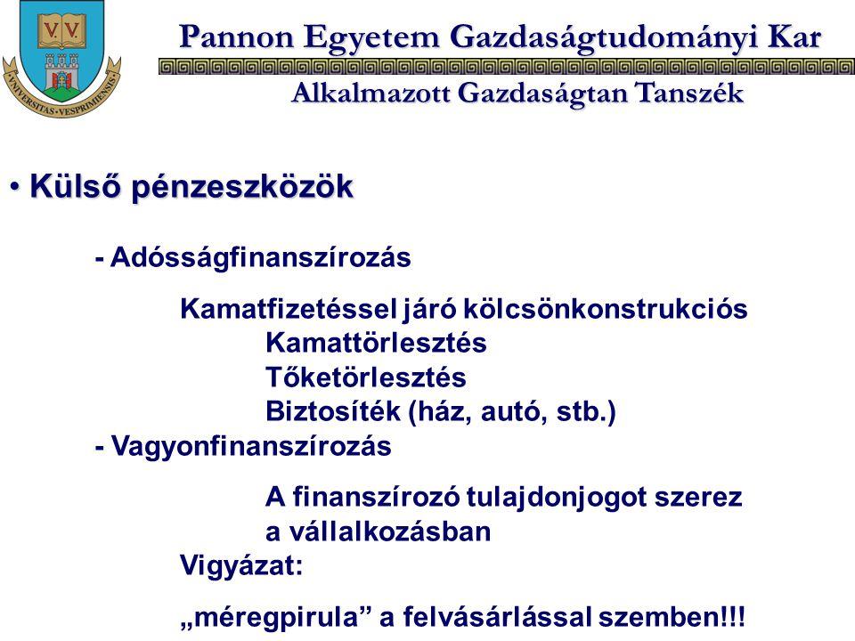 Pannon Egyetem Gazdaságtudományi Kar Alkalmazott Gazdaságtan Tanszék Külső pénzeszközök Külső pénzeszközök - Adósságfinanszírozás Kamatfizetéssel járó