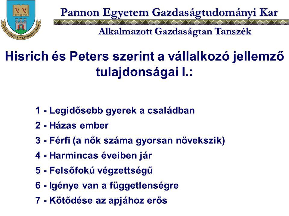 Pannon Egyetem Gazdaságtudományi Kar Alkalmazott Gazdaságtan Tanszék L 1 - Legidősebb gyerek a családban H 2 - Házas ember F 3 - Férfi (a nők száma gy