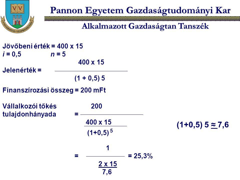 Pannon Egyetem Gazdaságtudományi Kar Alkalmazott Gazdaságtan Tanszék Jövőbeni érték = 400 x 15 i = 0,5n = 5 400 x 15 Jelenérték = (1 + 0,5) 5 Finanszí