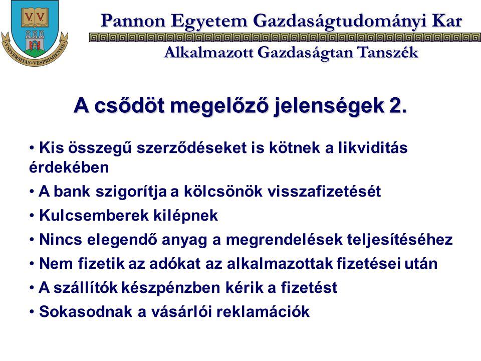 Pannon Egyetem Gazdaságtudományi Kar Alkalmazott Gazdaságtan Tanszék Kis összegű szerződéseket is kötnek a likviditás érdekében A bank szigorítja a kö