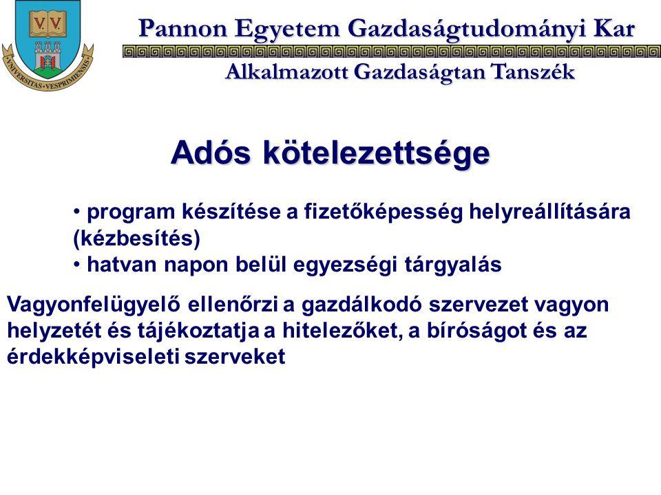 Pannon Egyetem Gazdaságtudományi Kar Alkalmazott Gazdaságtan Tanszék Adós kötelezettsége program készítése a fizetőképesség helyreállítására (kézbesít