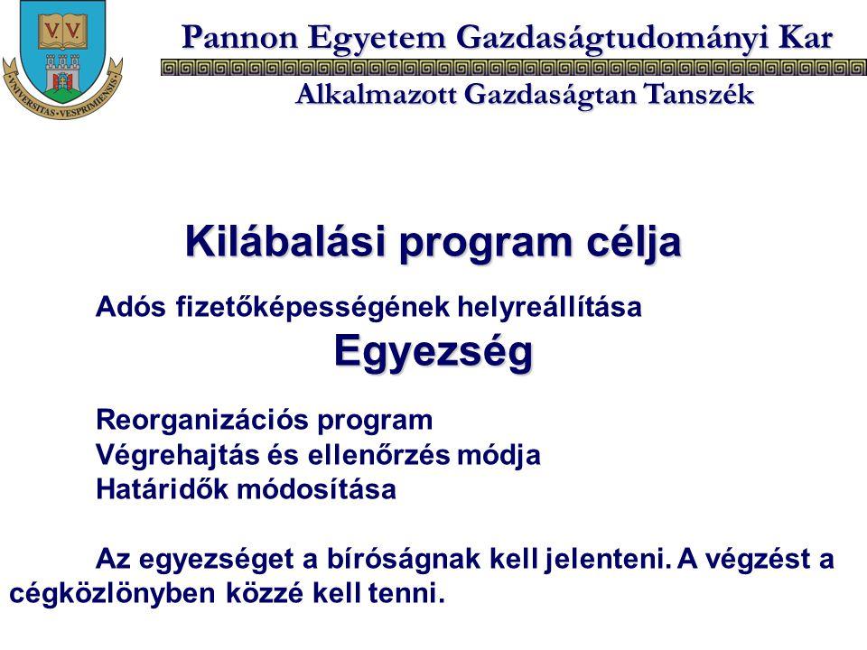 Pannon Egyetem Gazdaságtudományi Kar Alkalmazott Gazdaságtan Tanszék Kilábalási program célja Adós fizetőképességének helyreállításaEgyezség Reorganiz