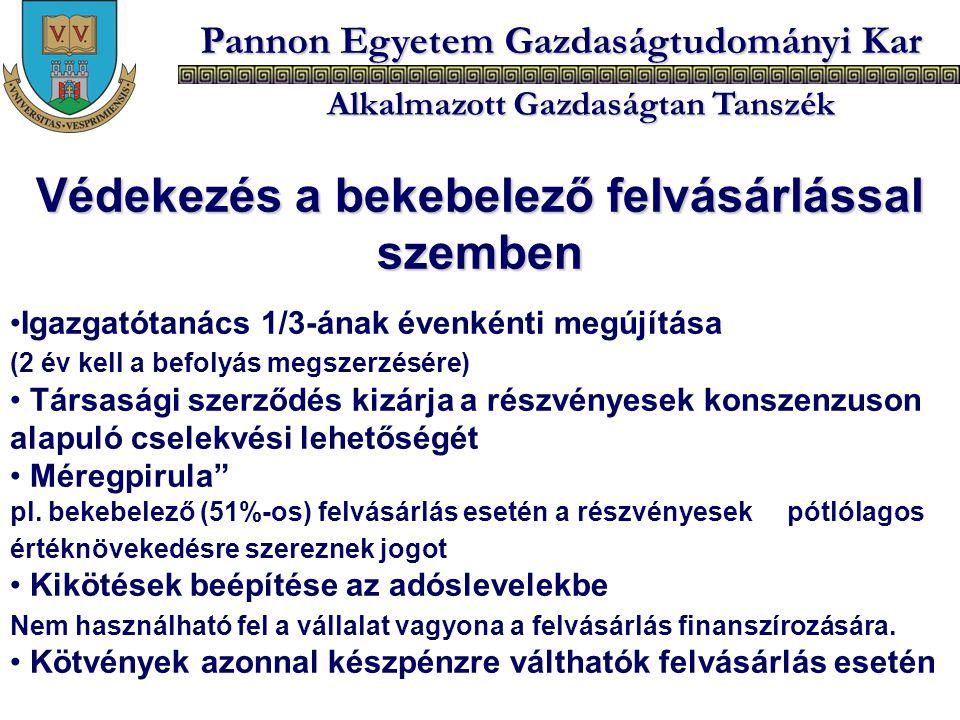 Pannon Egyetem Gazdaságtudományi Kar Alkalmazott Gazdaságtan Tanszék Védekezés a bekebelező felvásárlással szemben Igazgatótanács 1/3-ának évenkénti m
