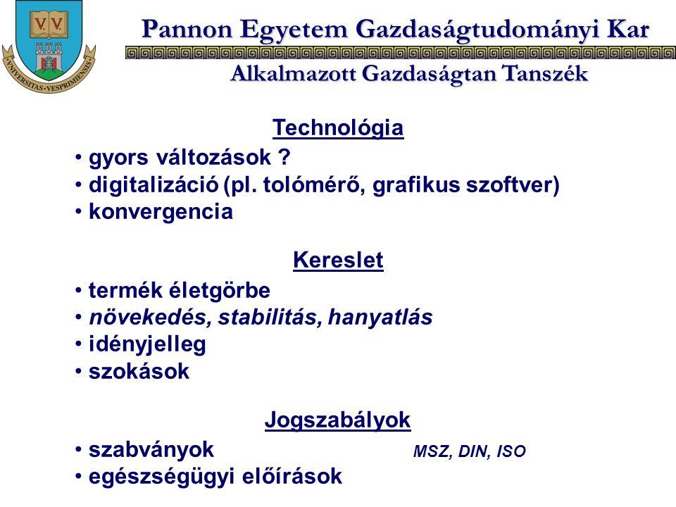 Pannon Egyetem Gazdaságtudományi Kar Alkalmazott Gazdaságtan Tanszék Technológia gyors változások ? digitalizáció (pl. tolómérő, grafikus szoftver) ko