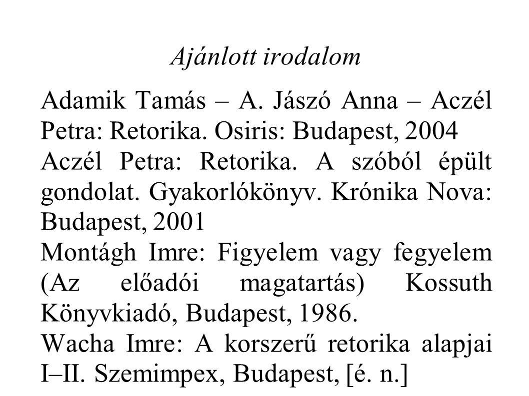Ajánlott irodalom Adamik Tamás – A. Jászó Anna – Aczél Petra: Retorika. Osiris: Budapest, 2004 Aczél Petra: Retorika. A szóból épült gondolat. Gyakorl