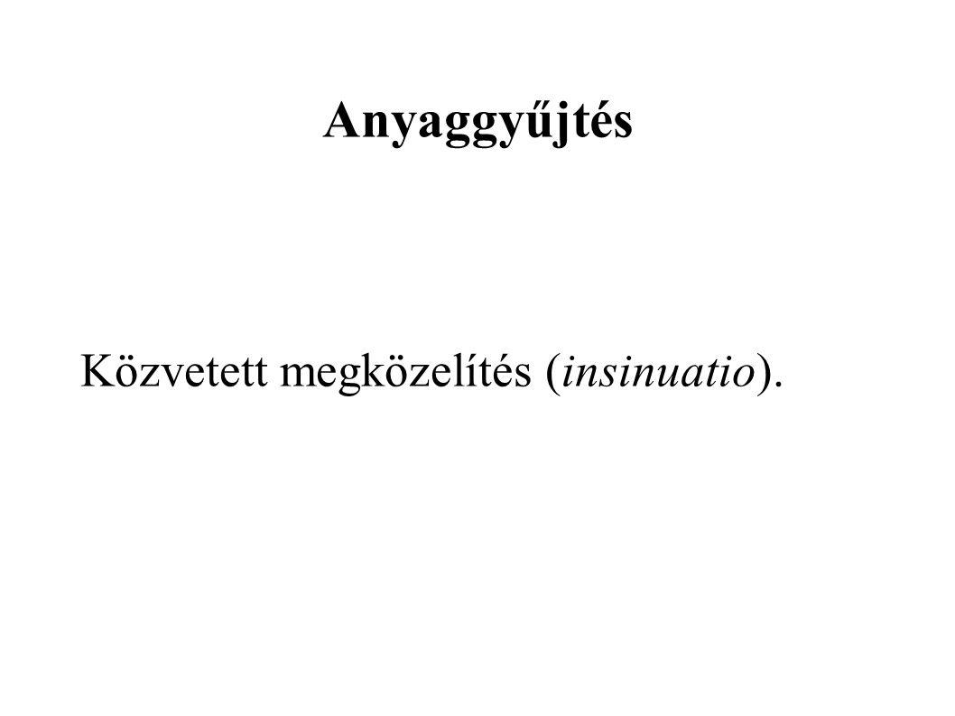 Anyaggyűjtés Közvetett megközelítés (insinuatio).