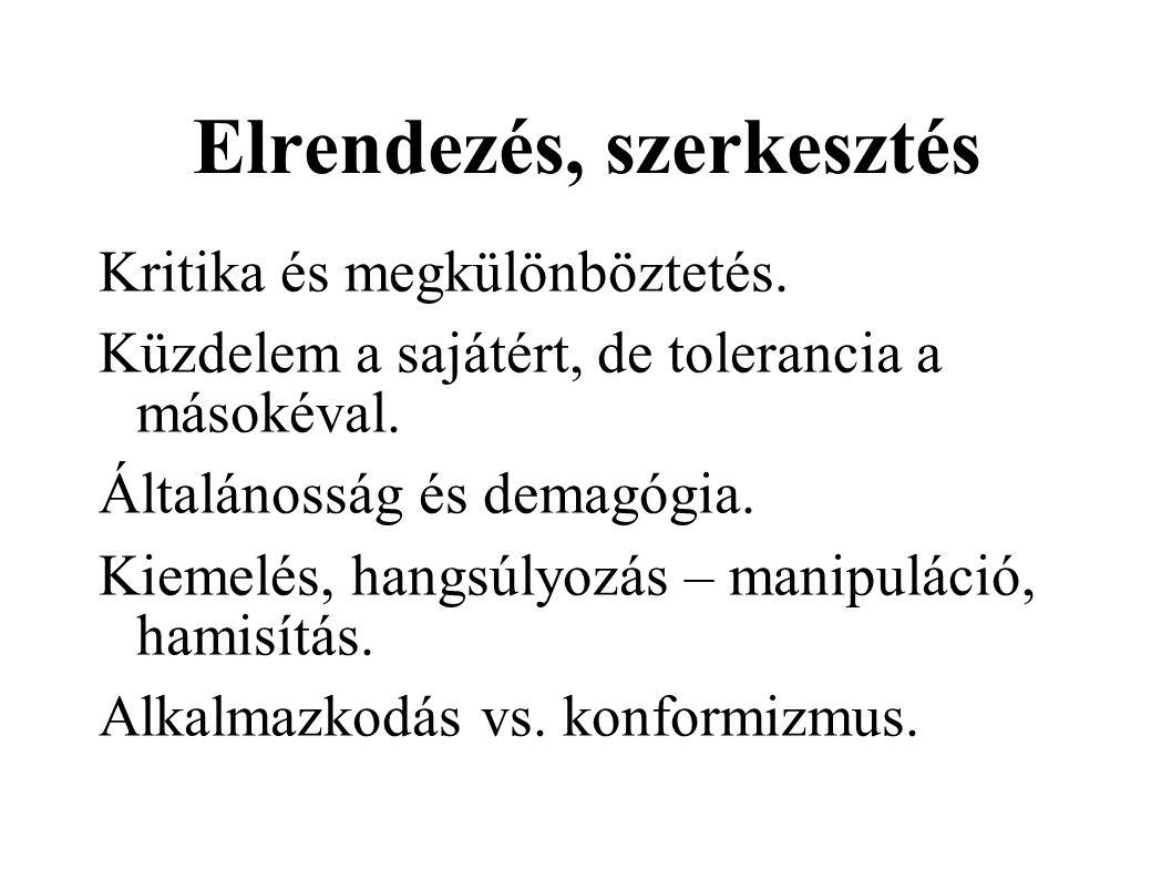 Elrendezés, szerkesztés Kritika és megkülönböztetés.