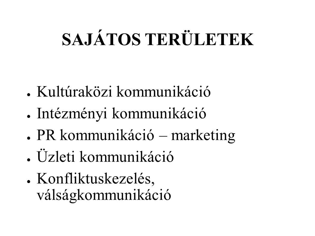 SAJÁTOS TERÜLETEK ● Kultúraközi kommunikáció ● Intézményi kommunikáció ● PR kommunikáció – marketing ● Üzleti kommunikáció ● Konfliktuskezelés, válság