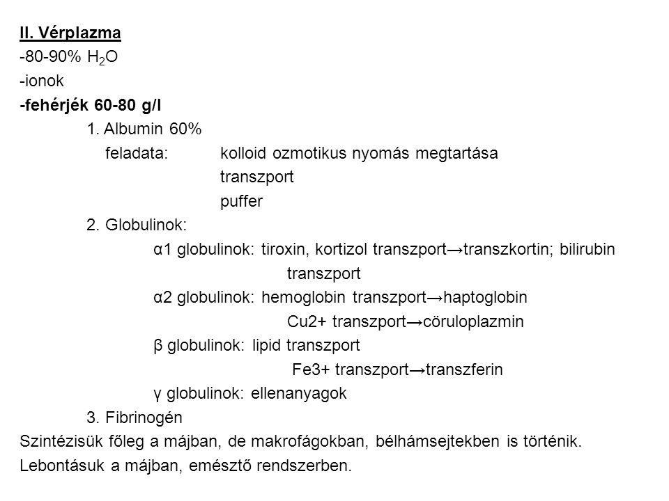 II. Vérplazma -80-90% H 2 O -ionok -fehérjék 60-80 g/l 1. Albumin 60% feladata: kolloid ozmotikus nyomás megtartása transzport puffer 2. Globulinok: α