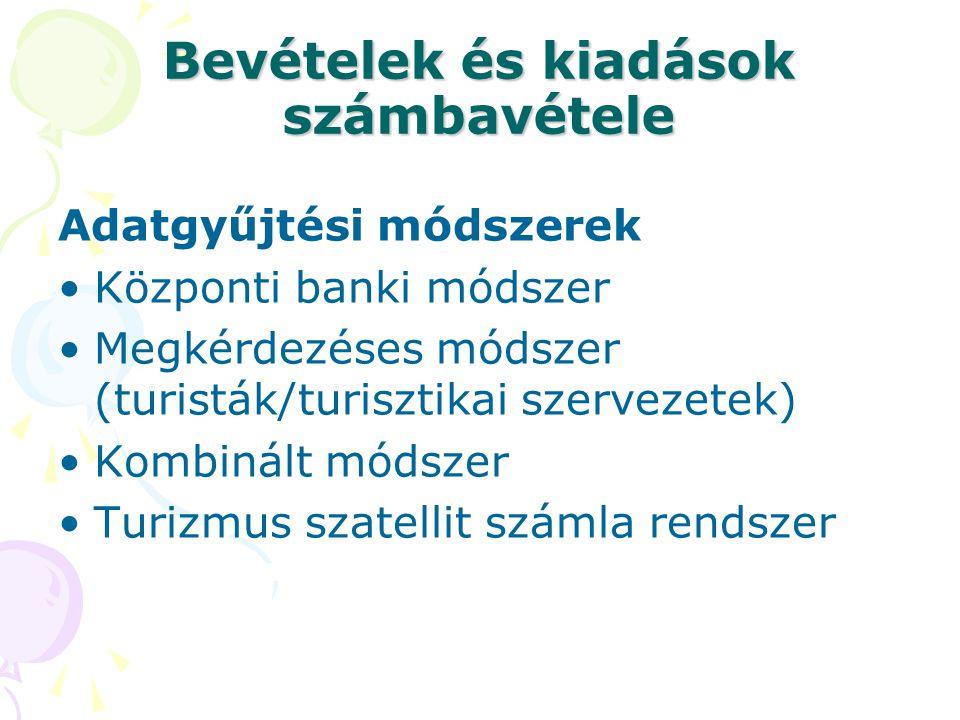 Bevételek és kiadások számbavétele Adatgyűjtési módszerek Központi banki módszer Megkérdezéses módszer (turisták/turisztikai szervezetek) Kombinált módszer Turizmus szatellit számla rendszer