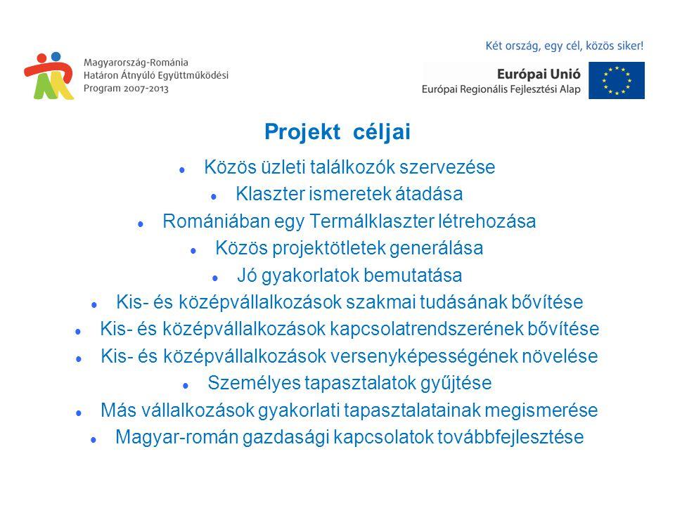 Projekt céljai Közös üzleti találkozók szervezése Klaszter ismeretek átadása Romániában egy Termálklaszter létrehozása Közös projektötletek generálása Jó gyakorlatok bemutatása Kis- és középvállalkozások szakmai tudásának bővítése Kis- és középvállalkozások kapcsolatrendszerének bővítése Kis- és középvállalkozások versenyképességének növelése Személyes tapasztalatok gyűjtése Más vállalkozások gyakorlati tapasztalatainak megismerése Magyar-román gazdasági kapcsolatok továbbfejlesztése