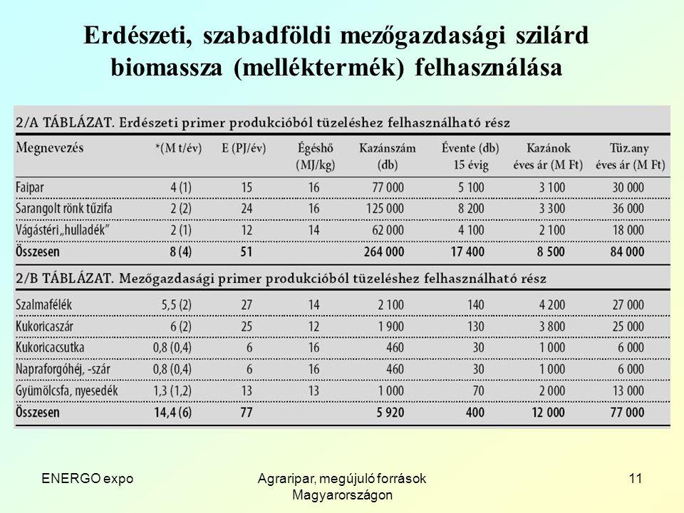 ENERGO expoAgraripar, megújuló források Magyarországon 11 Erdészeti, szabadföldi mezőgazdasági szilárd biomassza (melléktermék) felhasználása