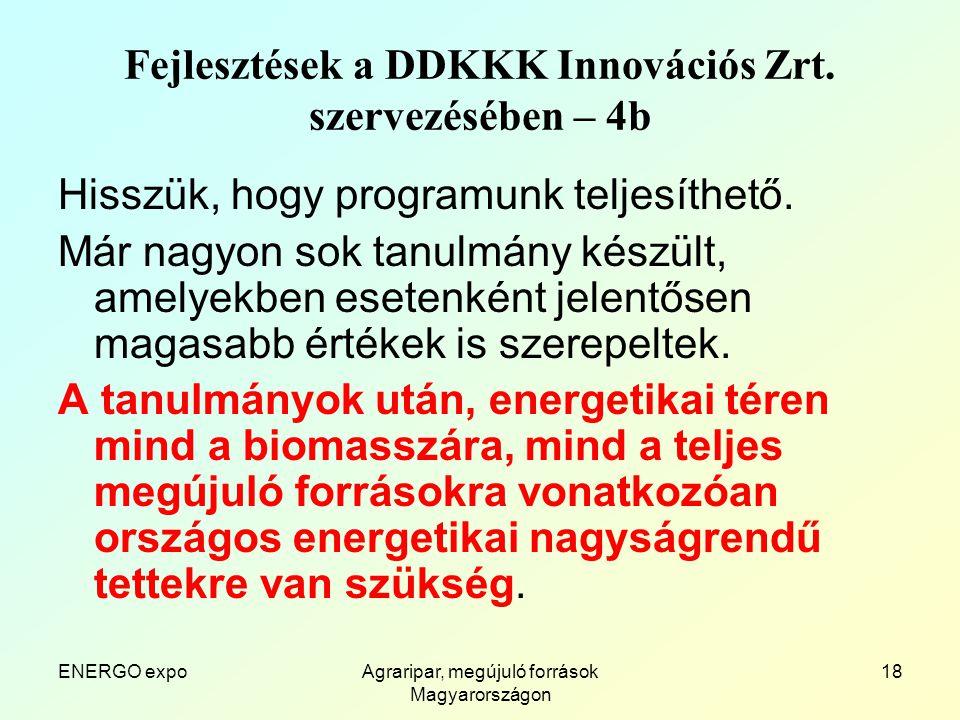 ENERGO expoAgraripar, megújuló források Magyarországon 18 Fejlesztések a DDKKK Innovációs Zrt.