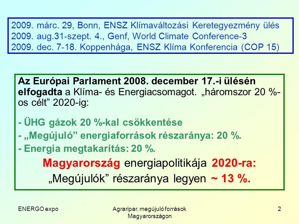 ENERGO expoAgraripar, megújuló források Magyarországon 13 Háziállatok trágyája biogáznak feldolgozva