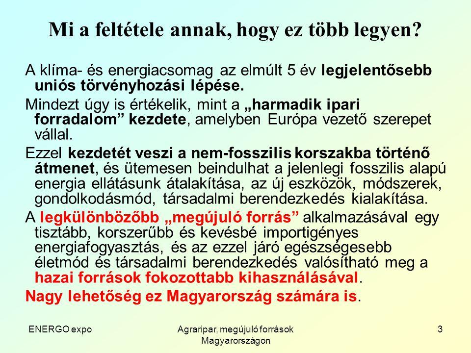 ENERGO expoAgraripar, megújuló források Magyarországon 4 Mi mást tehetünk.