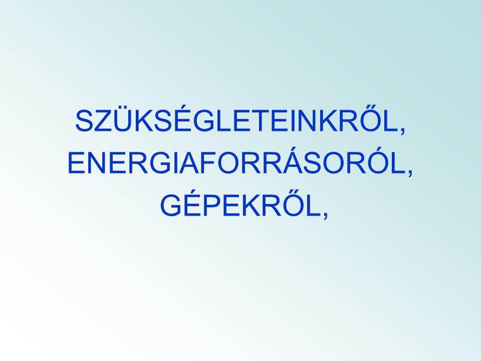 SZÜKSÉGLETEINKRŐL, ENERGIAFORRÁSORÓL, GÉPEKRŐL,