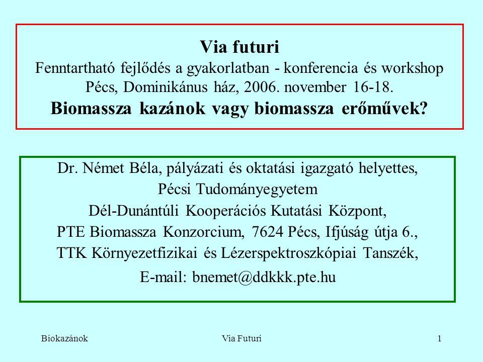 BiokazánokVia Futuri1 Via futuri Fenntartható fejlődés a gyakorlatban - konferencia és workshop Pécs, Dominikánus ház, 2006.