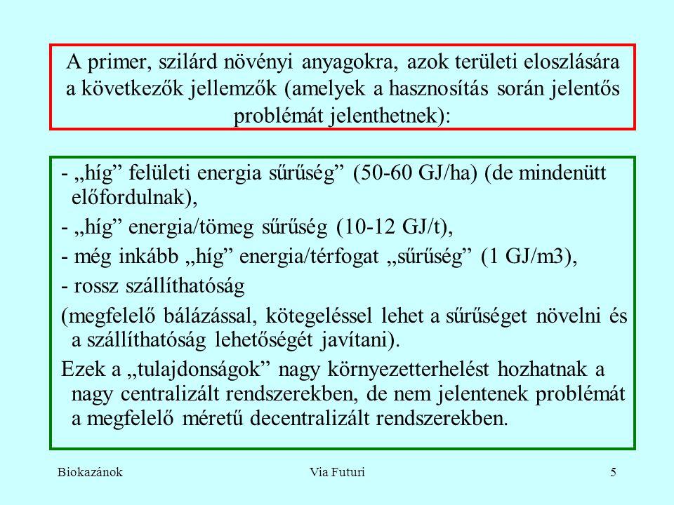 """BiokazánokVia Futuri5 A primer, szilárd növényi anyagokra, azok területi eloszlására a következők jellemzők (amelyek a hasznosítás során jelentős problémát jelenthetnek): - """"híg felületi energia sűrűség (50-60 GJ/ha) (de mindenütt előfordulnak), - """"híg energia/tömeg sűrűség (10-12 GJ/t), - még inkább """"híg energia/térfogat """"sűrűség (1 GJ/m3), - rossz szállíthatóság (megfelelő bálázással, kötegeléssel lehet a sűrűséget növelni és a szállíthatóság lehetőségét javítani)."""