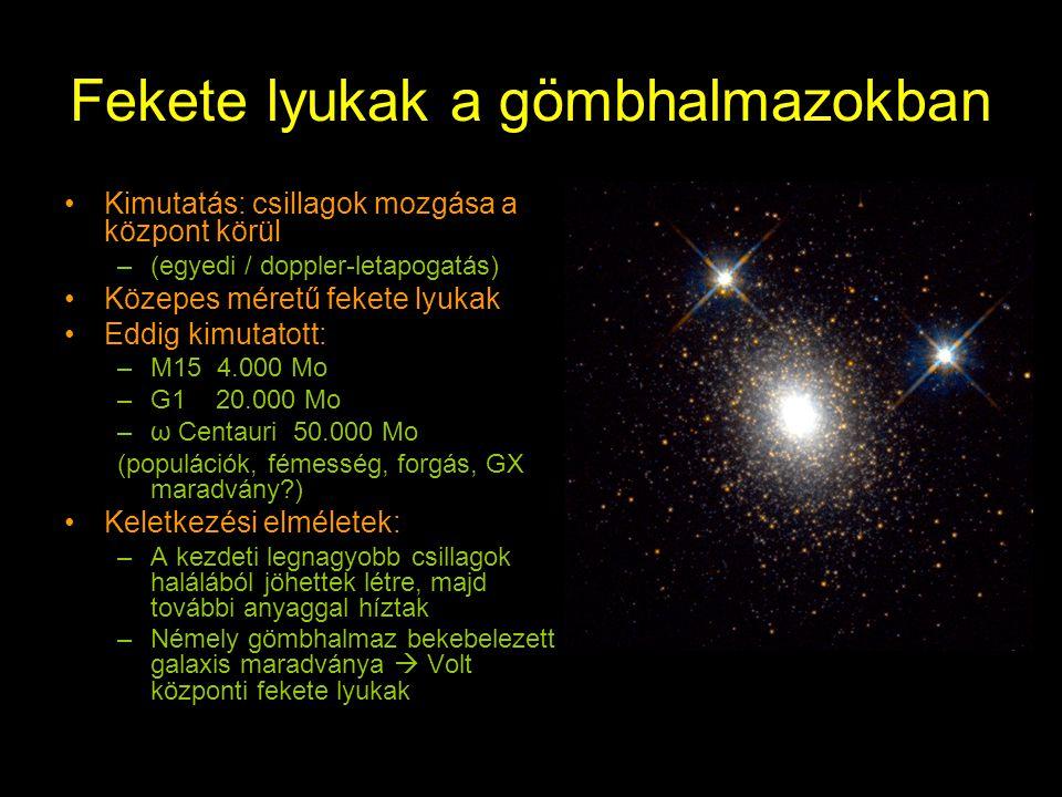 Fekete lyukak a gömbhalmazokban Kimutatás: csillagok mozgása a központ körül –(egyedi / doppler-letapogatás) Közepes méretű fekete lyukak Eddig kimutatott: –M15 4.000 Mo –G1 20.000 Mo –ω Centauri 50.000 Mo (populációk, fémesség, forgás, GX maradvány?) Keletkezési elméletek: –A kezdeti legnagyobb csillagok halálából jöhettek létre, majd további anyaggal híztak –Némely gömbhalmaz bekebelezett galaxis maradványa  Volt központi fekete lyukak