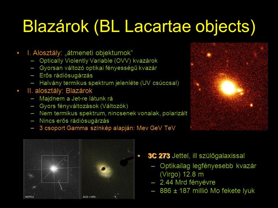 """Blazárok (BL Lacartae objects) I. Alosztály: """"átmeneti objektumok"""" –Optically Violently Variable (OVV) kvazárok –Gyorsan változó optikai fényességű kv"""