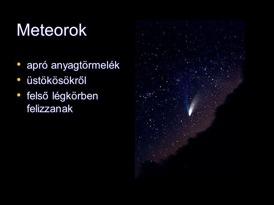 Meteorok apró anyagtörmelék apró anyagtörmelék üstökösökről üstökösökről felső légkörben felizzanak felső légkörben felizzanak