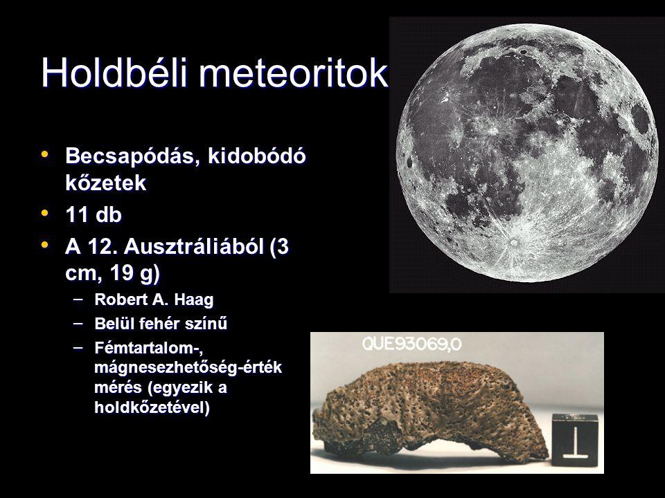 Holdbéli meteoritok Becsapódás, kidobódó kőzetek Becsapódás, kidobódó kőzetek 11 db 11 db A 12.
