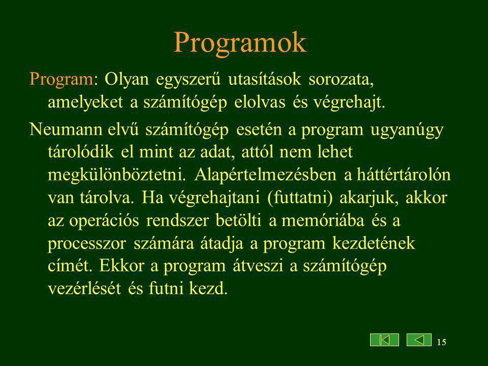15 Programok Program: Olyan egyszerű utasítások sorozata, amelyeket a számítógép elolvas és végrehajt.