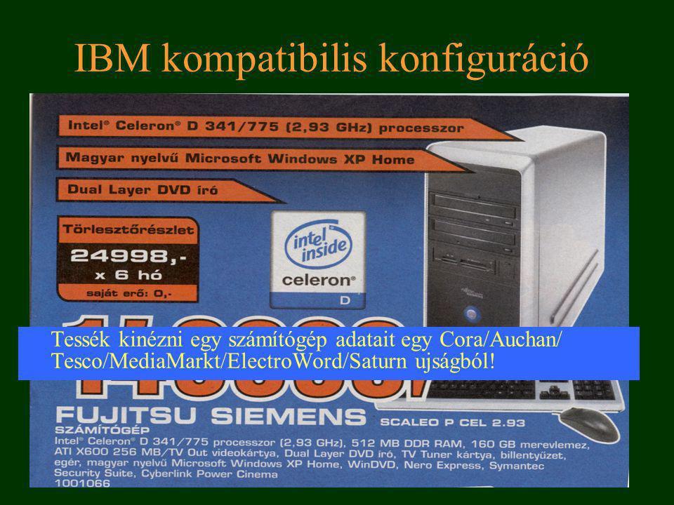 6 Egy Apple konfiguráció PowerMac G5 DC 2.3Ghz/512/250/SD/GF6600/No KB Jelentése: 2.3 Ghz órajel (2.3*10 9 művelet/másodperc) 512MB memória (512*10 6 Byte ennyi adat fér el benne) 250 GB merevlemez (250*10 9 Byte-os) SD (Super drive meghajtó tud cd-t dvd-t írni/olvasni) GF6600 videókártya típusa.
