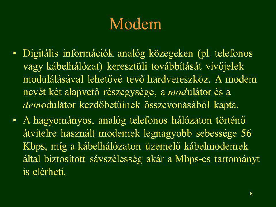 8 Modem Digitális információk analóg közegeken (pl.