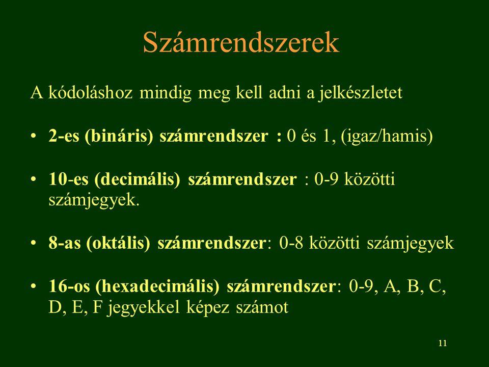 11 Számrendszerek A kódoláshoz mindig meg kell adni a jelkészletet 2-es (bináris) számrendszer : 0 és 1, (igaz/hamis) 10-es (decimális) számrendszer :