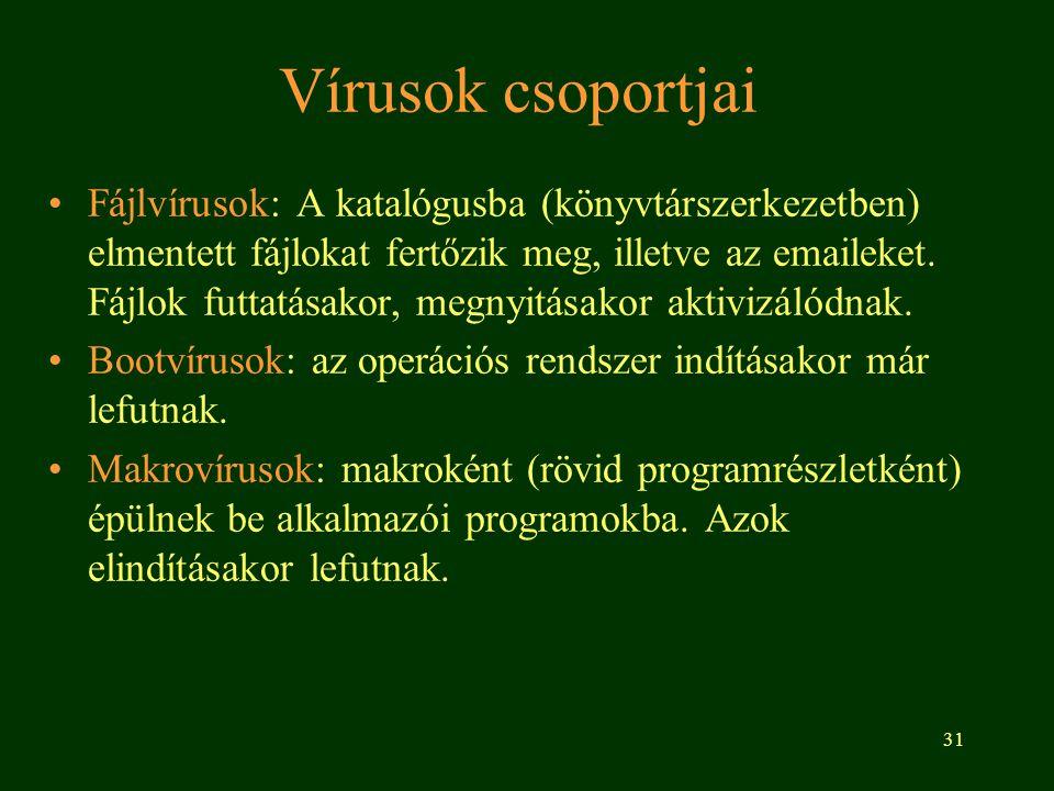 31 Vírusok csoportjai Fájlvírusok: A katalógusba (könyvtárszerkezetben) elmentett fájlokat fertőzik meg, illetve az emaileket. Fájlok futtatásakor, me
