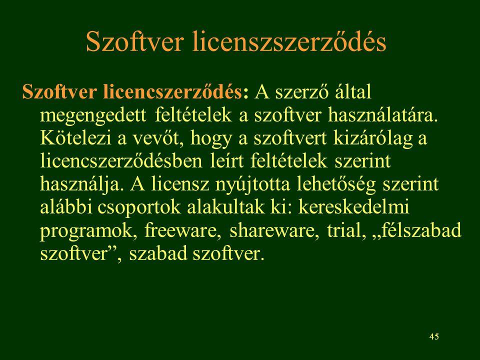45 Szoftver licenszszerződés Szoftver licencszerződés: A szerző által megengedett feltételek a szoftver használatára. Kötelezi a vevőt, hogy a szoftve