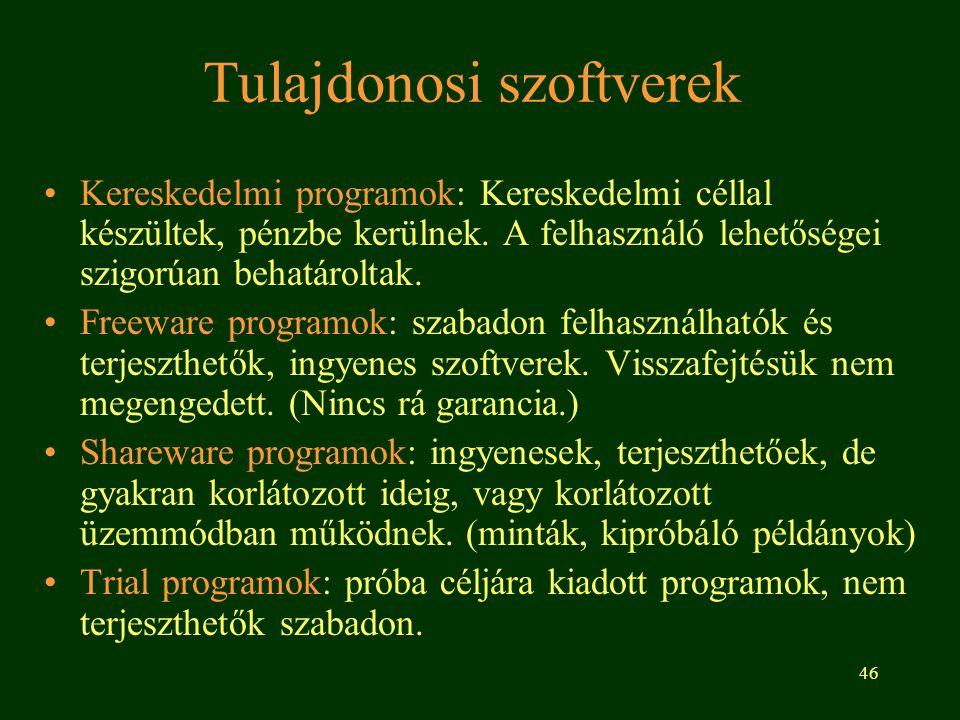 46 Tulajdonosi szoftverek Kereskedelmi programok: Kereskedelmi céllal készültek, pénzbe kerülnek. A felhasználó lehetőségei szigorúan behatároltak. Fr