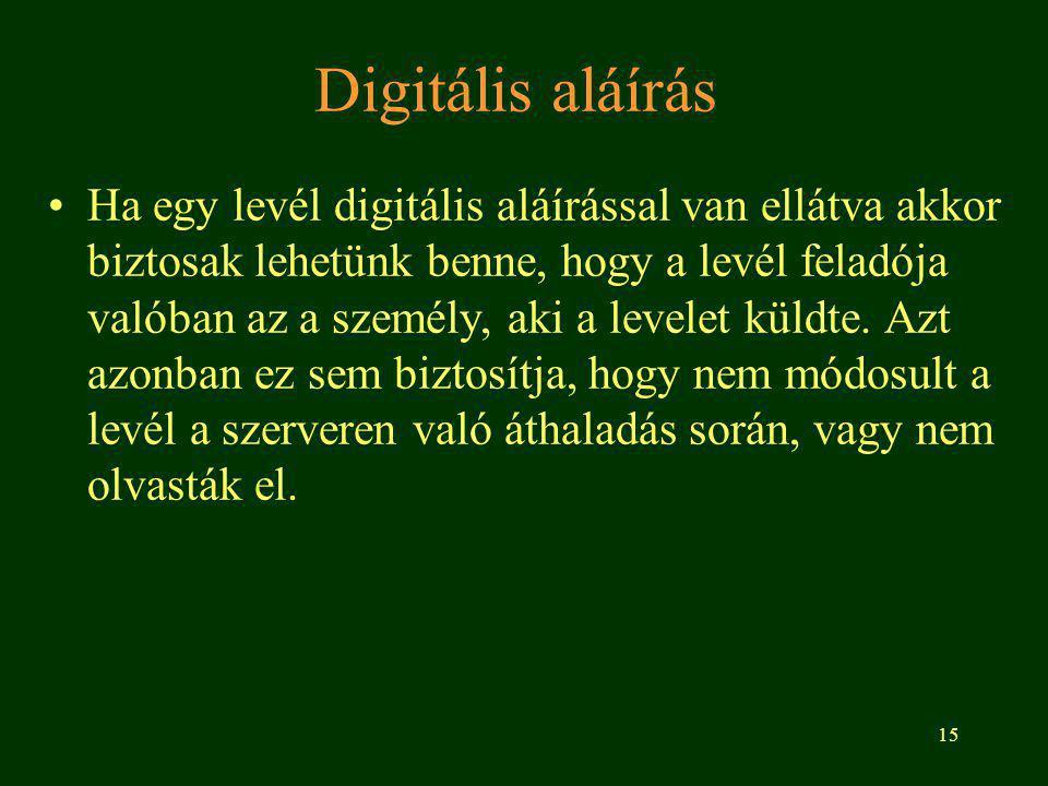15 Digitális aláírás Ha egy levél digitális aláírással van ellátva akkor biztosak lehetünk benne, hogy a levél feladója valóban az a személy, aki a levelet küldte.
