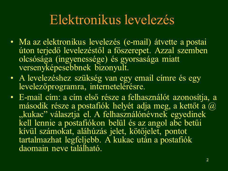 2 Elektronikus levelezés Ma az elektronikus levelezés (e-mail) átvette a postai úton terjedő levelezéstől a főszerepet.