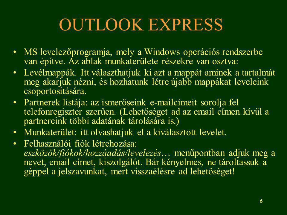 6 OUTLOOK EXPRESS MS levelezőprogramja, mely a Windows operációs rendszerbe van építve.