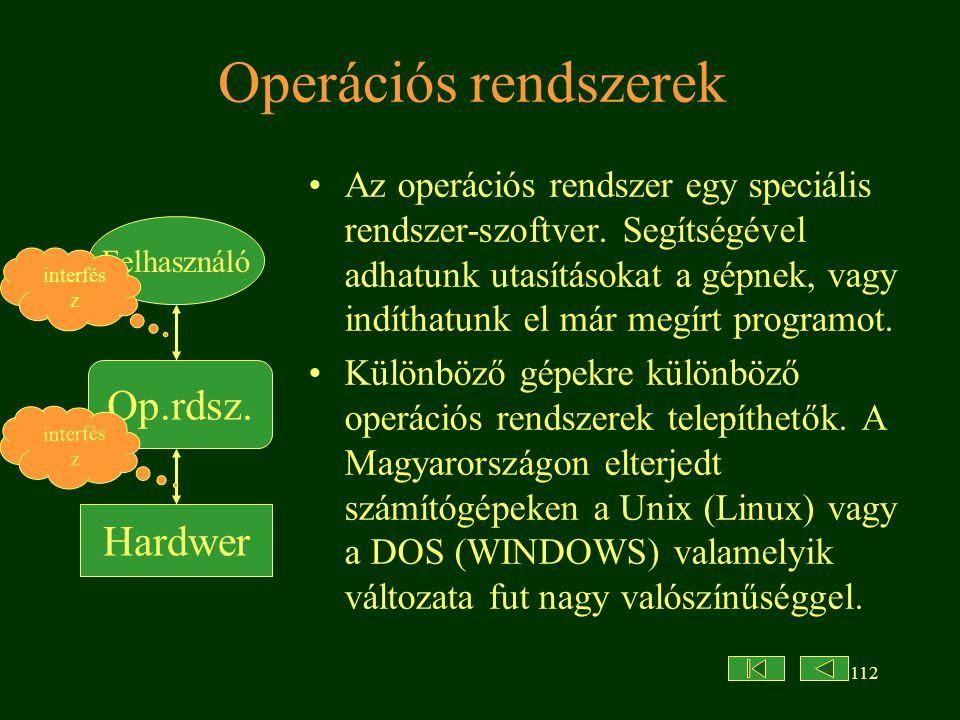 112 Operációs rendszerek Az operációs rendszer egy speciális rendszer-szoftver.