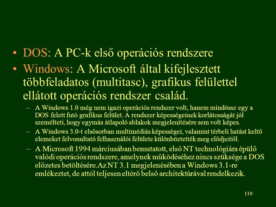 119 DOS: A PC-k első operációs rendszere Windows: A Microsoft által kifejlesztett többfeladatos (multitasc), grafikus felülettel ellátott operációs rendszer család.