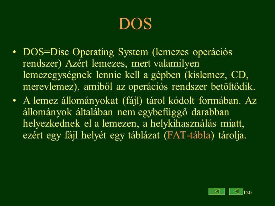120 DOS DOS=Disc Operating System (lemezes operációs rendszer) Azért lemezes, mert valamilyen lemezegységnek lennie kell a gépben (kislemez, CD, merevlemez), amiből az operációs rendszer betöltődik.