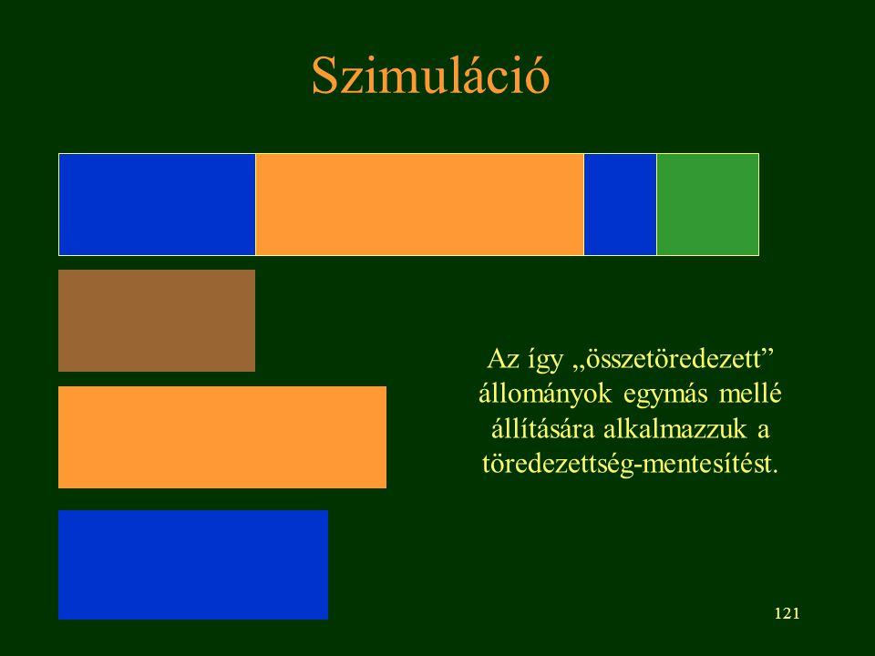 """121 Szimuláció Az így """"összetöredezett állományok egymás mellé állítására alkalmazzuk a töredezettség-mentesítést."""