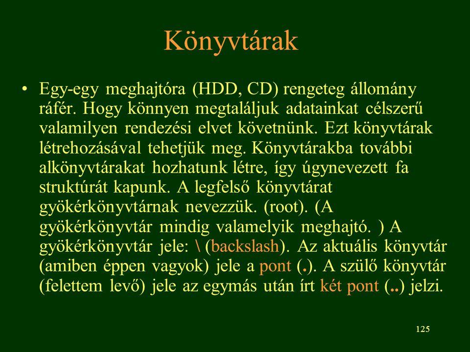 125 Könyvtárak Egy-egy meghajtóra (HDD, CD) rengeteg állomány ráfér.