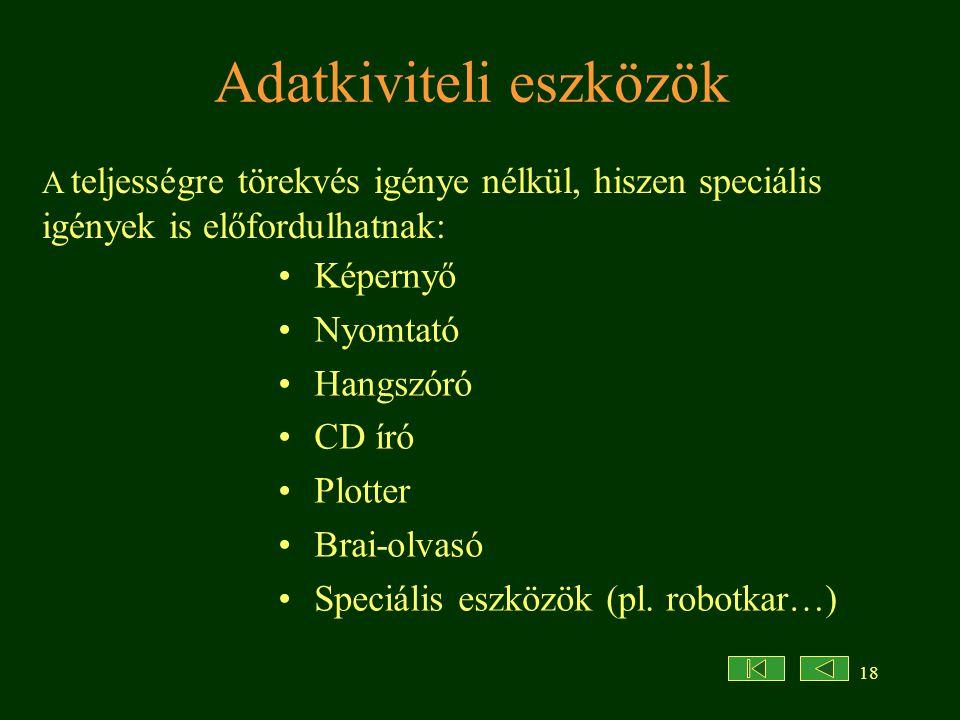 18 Adatkiviteli eszközök Képernyő Nyomtató Hangszóró CD író Plotter Brai-olvasó Speciális eszközök (pl.