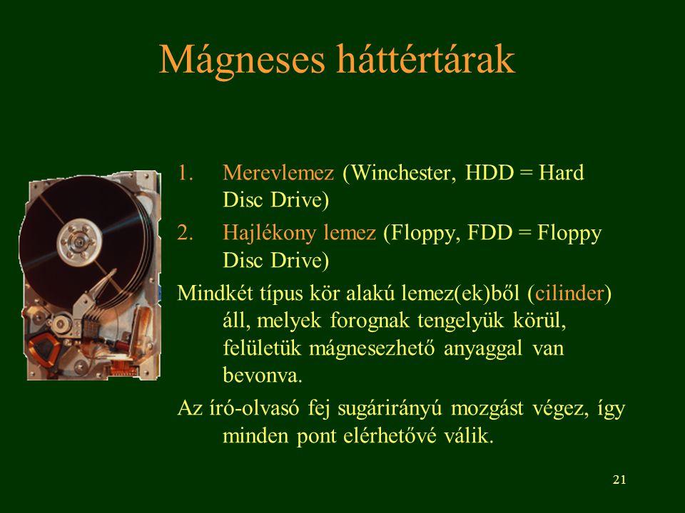 21 Mágneses háttértárak 1.Merevlemez (Winchester, HDD = Hard Disc Drive) 2.Hajlékony lemez (Floppy, FDD = Floppy Disc Drive) Mindkét típus kör alakú lemez(ek)ből (cilinder) áll, melyek forognak tengelyük körül, felületük mágnesezhető anyaggal van bevonva.