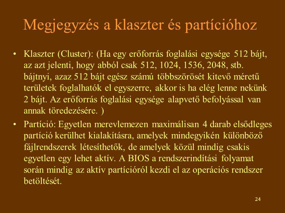 24 Megjegyzés a klaszter és partícióhoz Klaszter (Cluster): (Ha egy erőforrás foglalási egysége 512 bájt, az azt jelenti, hogy abból csak 512, 1024, 1536, 2048, stb.